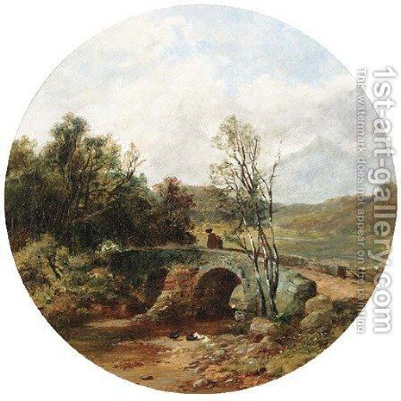 Figures crossing a bridge by (after) Walter Williams - Reproduction Oil Painting