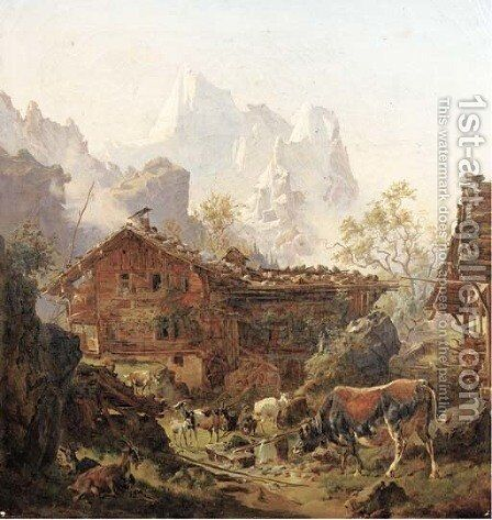 Milking time in the mountains by (after) Wilhelm Melchior - Reproduction Oil Painting