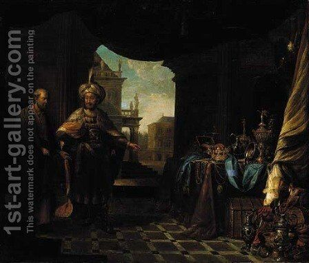 Croesus showing his riches to Solon by (after) Willem De Poorter - Reproduction Oil Painting
