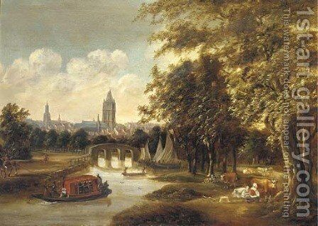 A view of Delft from the north with the Leiden ferry by (after) Willem Van Dalen - Reproduction Oil Painting