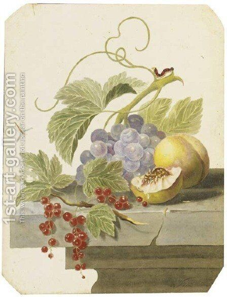 Still life with grapes, peaches and red currants on a ledge by (after) Willem Van Leen - Reproduction Oil Painting