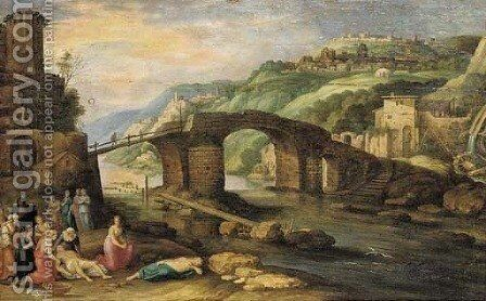 An Italiante landscape with a bridge before a town, Hero and Leander in the foreground by (after) Willem Van, The Younger Nieulandt - Reproduction Oil Painting