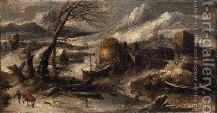 A winter landscape with fishermen by a river by (after) Willem Von Bemmel - Reproduction Oil Painting