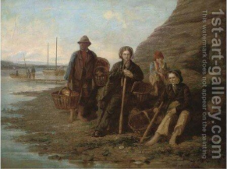 Mussel gatherers by (after) William Collins - Reproduction Oil Painting