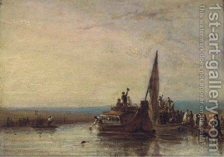 Figures boarding a ferry by (after) William Frederick Witherington - Reproduction Oil Painting