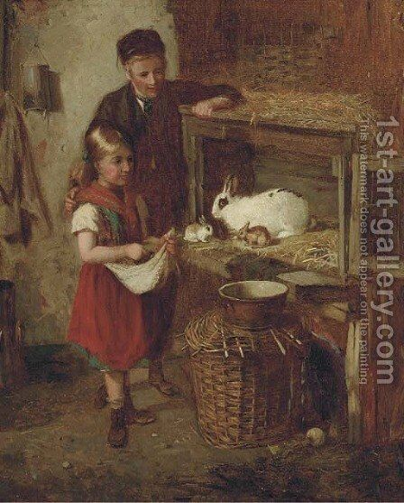 Feeding the rabbits by (after) William Hemsley - Reproduction Oil Painting
