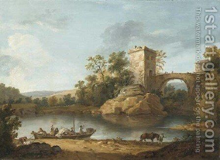 An Italianate river landscape with peasants in a boat and a fortified bridge beyond by (after) William Hodges - Reproduction Oil Painting