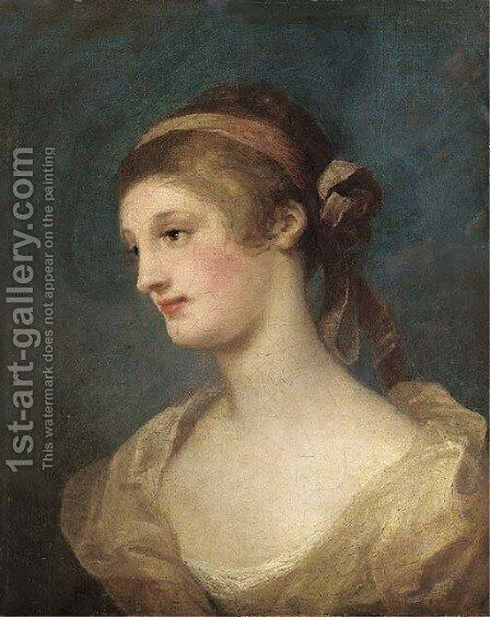 Portrait of a lady, bust-length, with a ribbon in her hair by (after) William Hogarth - Reproduction Oil Painting