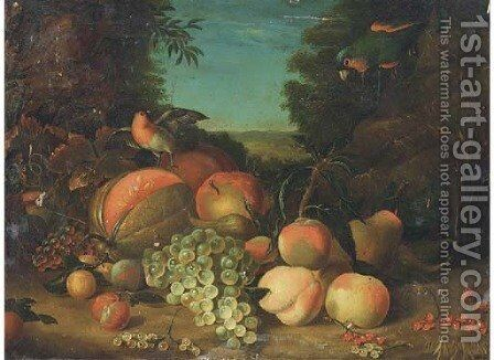 Still life of grapes, peaches, plums, berries and a melon by (after) William Jones Of Bath - Reproduction Oil Painting