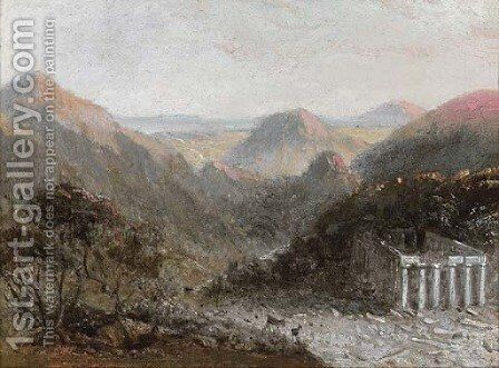 A ruined temple in an Italianate landscape by (after) William Linton - Reproduction Oil Painting