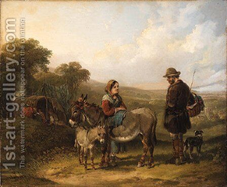 The gypsy camp by (after) William Jr Shayer - Reproduction Oil Painting