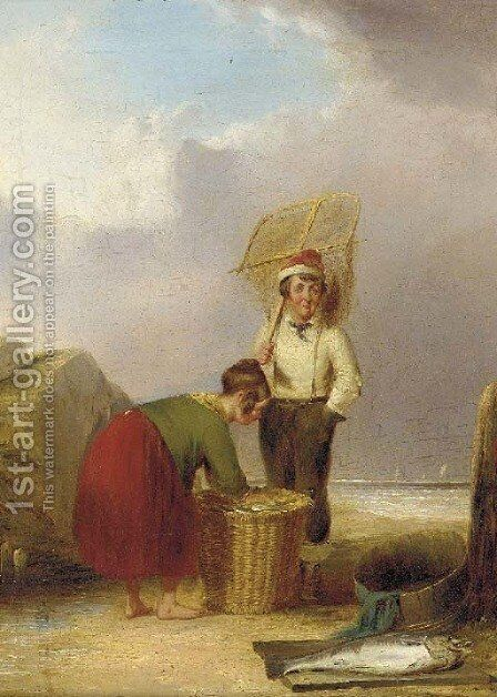 The day's catch by (after) William Snr Shayer - Reproduction Oil Painting