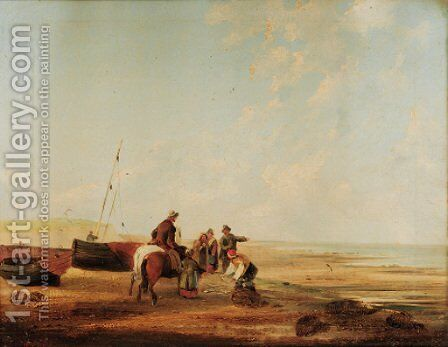 Unloading the catch by (after) William Snr Shayer - Reproduction Oil Painting