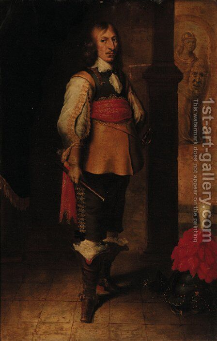 Portrait of an officer by (after) Wybrand Simonsz. De Geest - Reproduction Oil Painting