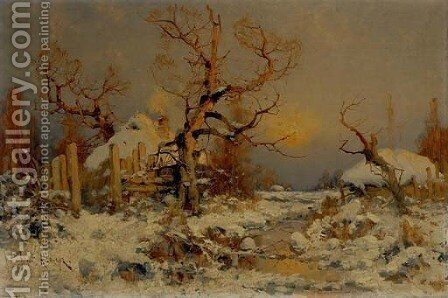 Winter Landscape by (after) Yulii Yulevich (Julius) - Reproduction Oil Painting