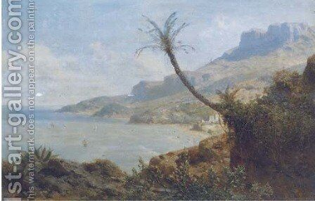 A view of a Mediterranean bay by August Albert Zimmermann - Reproduction Oil Painting