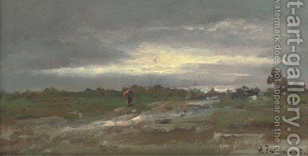 The approaching storm by August Albert Zimmermann - Reproduction Oil Painting