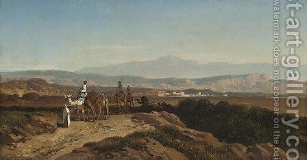 The camel train by August Albert Zimmermann - Reproduction Oil Painting