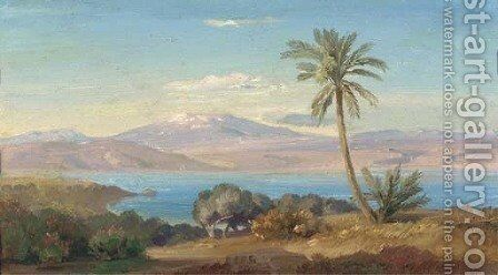 The Sicilian coast with Mount Etna in the distance by August Albert Zimmermann - Reproduction Oil Painting