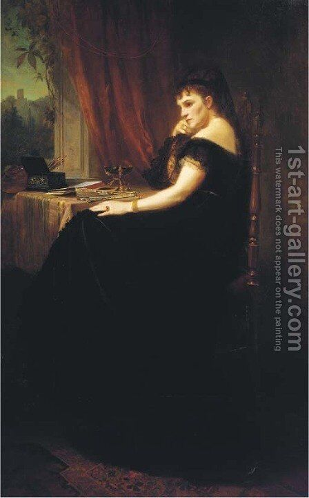 Portrait of Countesse Stollberg zu Stollberg (1827-1904) by August Cesar - Reproduction Oil Painting