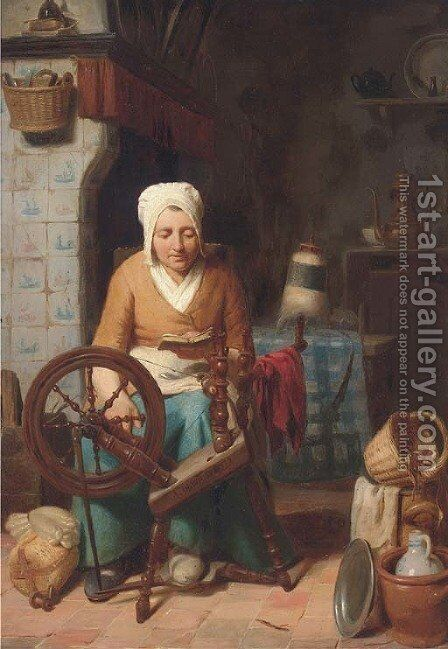 A rest from chores by August De Wilde - Reproduction Oil Painting