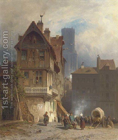A bustling marketplace, Rouen by August Schliecker - Reproduction Oil Painting
