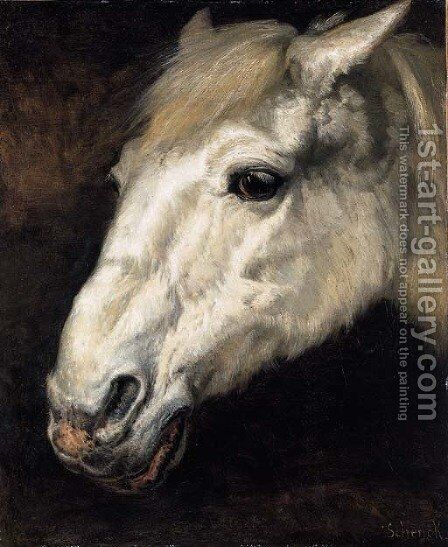 Head of a Horse by August Friedrich Albrecht Schenk - Reproduction Oil Painting