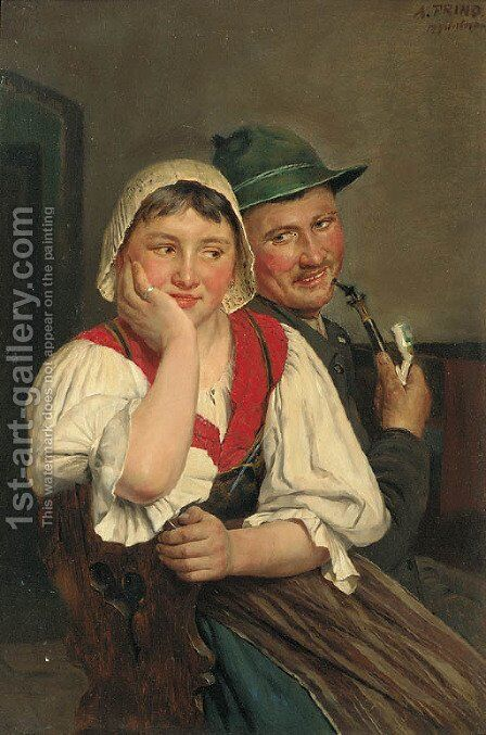 A Bavarian courtship by August Frind - Reproduction Oil Painting