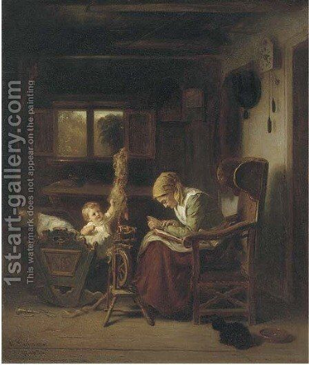 A story for the baby by August Heinrich Niedmann - Reproduction Oil Painting