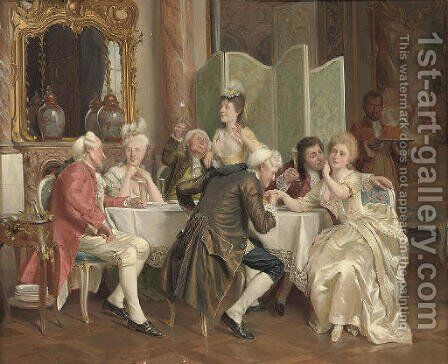 A toast by August Knoop - Reproduction Oil Painting