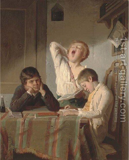 Tiresome studies by August Heyn - Reproduction Oil Painting