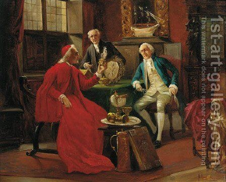 The connoisseurs by August Knoop - Reproduction Oil Painting