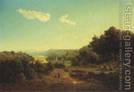 Travellers walking through the Ruhr valley by August Lutttmann - Reproduction Oil Painting