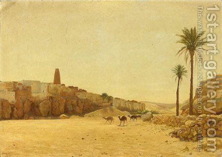 Camels before a North-African dessert village by August Le Gras - Reproduction Oil Painting