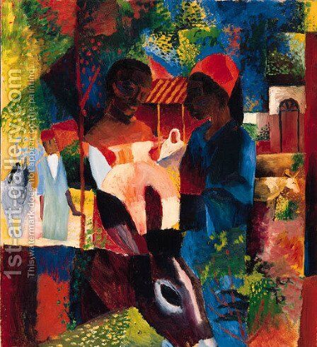 Markt in Tunis by August Macke - Reproduction Oil Painting