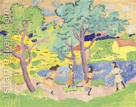 Spielende Kinder unter Baumen by August Macke - Reproduction Oil Painting