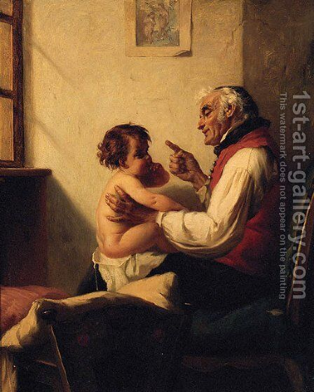 The First Lesson by August Miller - Reproduction Oil Painting