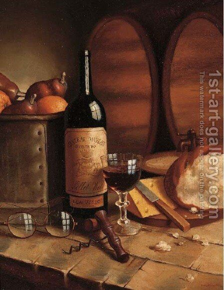 A bottle of Chateau Margaux, a goblet, fruit, bread, cheese and spectacles on a table by August Muller - Reproduction Oil Painting