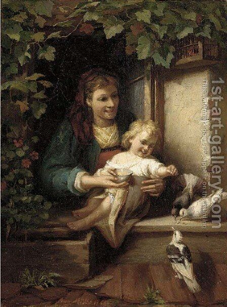 Feeding the birds by August Muller - Reproduction Oil Painting