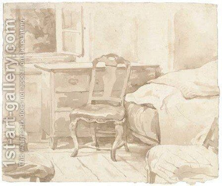 An interior with a chair by a chest of drawers by August Richter - Reproduction Oil Painting