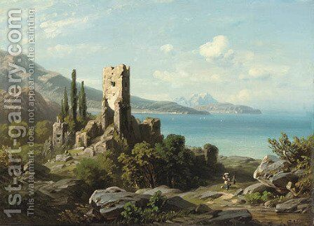Figures walking past ruins on a coastal path, with the sea beyond by August Seidel - Reproduction Oil Painting