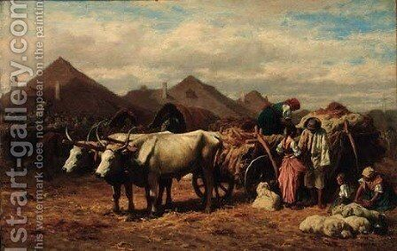Loading a wagon by August Xaver Karl von Pettenkofen - Reproduction Oil Painting