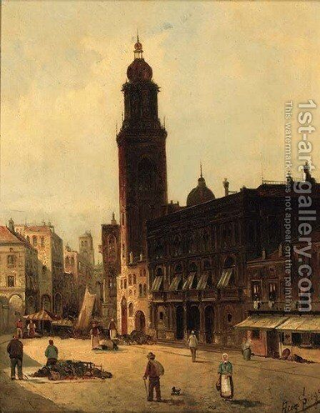A market place in Verona by August von Siegen - Reproduction Oil Painting