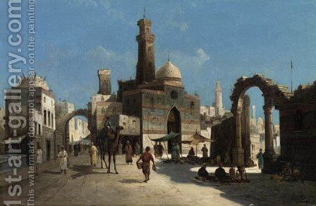 A Street Scene in the Levant by August von Siegen - Reproduction Oil Painting