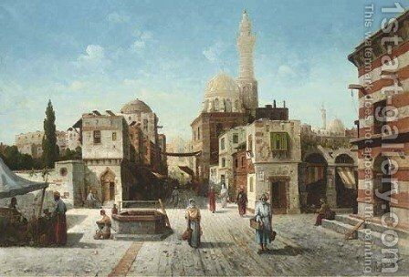 A Street Scene in the Orient by August von Siegen - Reproduction Oil Painting
