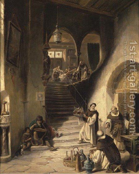 The monastic meal by August Levin von Wille - Reproduction Oil Painting