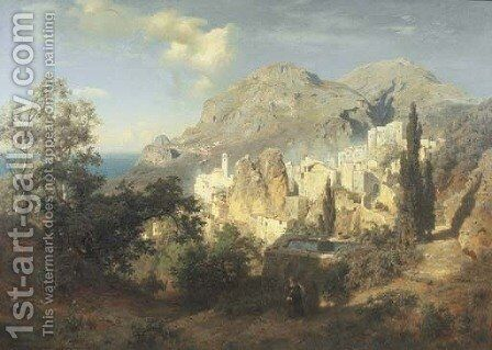 A View of the Amalfi Coast by August Wilhelm Leu - Reproduction Oil Painting