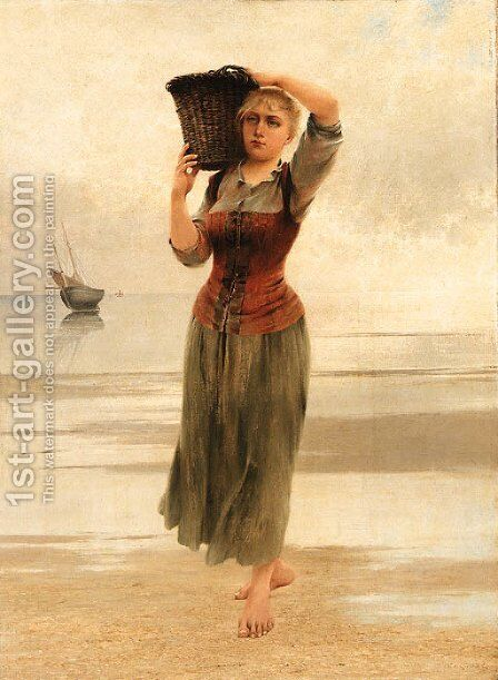 The fisherman's daughter by August Wilhelm Nikolaus Hagborg - Reproduction Oil Painting
