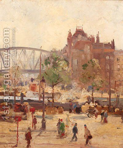 A busy quay, Rotterdam by August Willem van Voorden - Reproduction Oil Painting