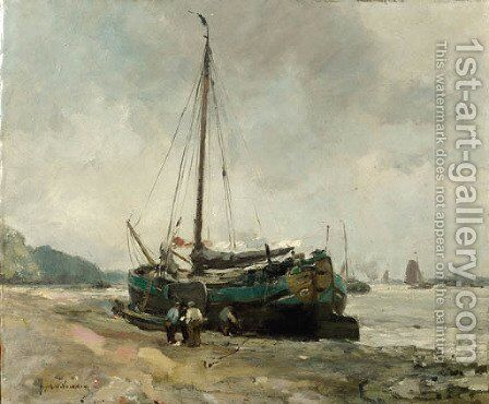 A moored Tjalk on a riverbank by August Willem van Voorden - Reproduction Oil Painting